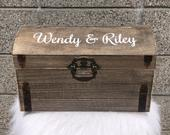 Brown Wooden Card Box Card Chest Rustic Wedding Keepsake Box with slot Wedding Envelopes Gift Cards Collection Box for Gift table