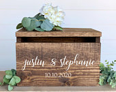 Personalized Rustic Wedding Card Box Lockable Card Box Custom Wedding Decor Personalized Card Box Wooden Card Box with Slot