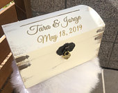 Custom Card Box Wooden Wedding Card Box Gift Card Chest White Rustic Wedding Keepsake Box with slot Lock Sold Separately