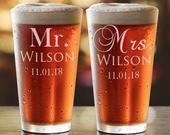 Personalized Beer Mug, Mr and Mrs, Wedding Gift, Bridal Shower Gift, Pint Glass, Beer Glass, Personalized Gift, Engagement Gift, PTPG007