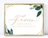 Greenery Wedding Favors Sign Printable Template, Editable Favors Please Take One Wedding Signage, Autumn