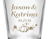 Fall wedding favors, fall wedding shot glasses, fall in love, 1.75oz personalized shot glasses, autumn wedding