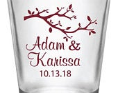 Fall wedding favors, wedding shot glasses, fall wedding, personalized 1.75oz shot glasses, 120 pieces
