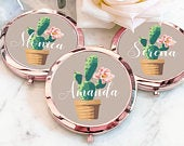 Cactus Gifts for Her Cactus Mirror Cactus Bridesmaid Gifts Cactus Bachelorette Party Favors Palm Springs Bachelorette Desert (EB3166FST)