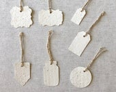 TAGS ESCORT CARDS Blank or Printed Wildflower Seed Multipurpose Tags Set of 50 Choice of 7 Tag Shapes, 28 Paper Color and 2 Finishes