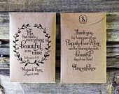 Bible Verse Seed packet Wedding Favor, Rustic Bridal Shower Favor, Custom seed packet, Christian Wedding Favors, He has made everything