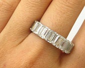 Signed 925 Sterling Silver C Z All Around Eternity Band Ring Size 10