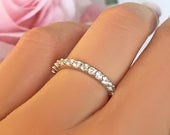 1 ctw Full Eternity Band, 2mm Wedding Band, Bridal Engagement Ring, Man Made Diamond Simulant, Sterling Silver, Promise Ring, Stacking Ring