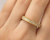 Signed 925 Silver Gold Plated C Z All Around Eternity Band Ring Size 8