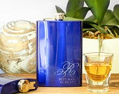 Blue Monogrammed Flask, Custom Flask, Personalized Flask, Engraved Flask: Blue Wedding Favors, Something Blue, Grooms Gift for Him
