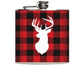 Buffalo Plaid Deer Head Flask, Red and Black Check, Mens Flask Personalized Hunter Gifts Groomsmen Custom 6oz Hip Flask