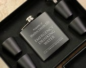 Emergency Drinking Water Flask Personalized Black Best Man Gift Wedding Party Gift Groomsman Gift Custom Engraved Flask
