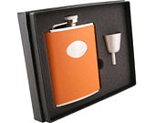 Personalized Women Flask Set, 6oz Orange Leather Stainless Steel Flask, Wedding Flask, Flasks for Bridesmaid, Maid of Honor Flask VSET161122