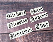 4 inch Name decals, vinyl decals, name stickers for DYI weddings, wine glasses, cups, personalized. Bachelor Party, groomsmen Gift