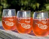 Personalized Wine Glasses, Bridesmaid Gift, Etched Glass, Custom Glasses, Engraved Glasses, Bridal Party Favors, Bridesmaid Gift, Set of 10