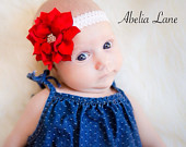 Red headband,lace headband, girls headband,baby headband,infant headband, holiday headband,newborn headbands,flower girl headband