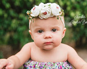 White Flower Headband, Flower Headband, Flower Crown, White Flower Nylon Headband, Hair Accessories, Flower Girl, Weddings, Newborn Headband
