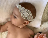 Lace Vintage Rhinestone Pearl Baby Headband Vintage Flower Girl Headband baby hair accessory Baby baptism christening headband Baptism hair