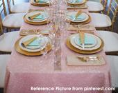 Blush Pink Sequin Table Cloth MADE TO ORDER, Shimmer Sparkly Light Pink Overlays Tablecloths for Wedding, Event, Bridal Shower, Ceremony