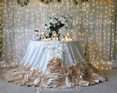 Rosette Tablecloth, Champagne Wedding Linens, Rose Tablecloth