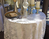 wedding tablecloth, vintage, White embroidered lace, overlay, lace tablecloth, table runner, gold table overlay, embroidered tablecloth