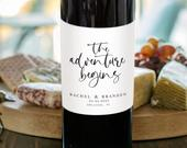 Wedding Wine Label Template, Wine Bottle Label, Editable Template, Wedding Favors, Engagement Wine Label Template, Modern Wine, 450