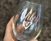 Custom Wine glass, custom wine glasses, bridesmaid gifts, bridal party gifts, wedding favors, birthday party favors, custom gifts for women