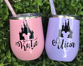 Disney Inspired Wine Tumbler, Personalized Tumbler, Bridesmaid Gift, Bachelorette Party Favor, Disney Wedding