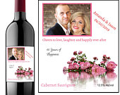Pink Wedding Wine Label with PhotoWedding Wine Label Wedding Gift Wedding Favors Engagement Gift Photo Wine Label Wine Milestone