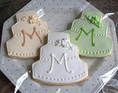 Monogrammed Wedding Cake Cookies Wedding Cake Decorated Cookies Wedding Cookie Favors 4.00 each