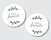 His and Her favorite stickers, favorite snack labels, favorite treat label, popcorn label, cookie label, wedding favor, wedding favor labels