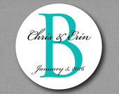 Custom Monogram Wedding Favor Sticker Labels Mason Jam Jar Labels Personalized Candy Buffet Stickers
