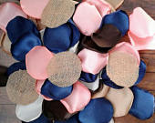Barn wedding decor,rustic wedding decor, burlap wedding decorations, rose petals, flower petals, navy rose petals, coral rose petals.