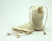 Burlap Jute Gift Favor Bags Rustic Vintage BLEACHED WHITE Color with Drawstring (3 x 5 12pcs)