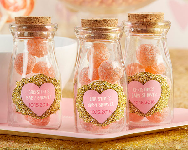 Personalized Sweet Heart Vintage Milk Bottle Favor Jar (Set of 12)
