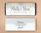 Large Personalized Candy Bar Wrappers, Bridal Shower Favor, Wedding Favor Decor, Wedding Decor Gold Dots Candy Wrappers (Set of 12)