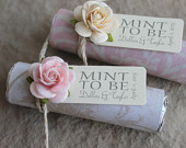 Blush Wedding Favors Set of 100 mint rolls with personalized tags blush wedding, ivory and blush wedding details
