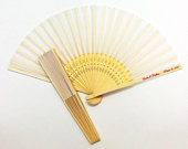Set of 12 IntricatelyCarved Bamboo Wood and White Silk Fans with Personalized Stickers Personalized Bamboo Silk Fans Wedding Favors