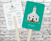 Custom Fans Louisiana Church Illustrations Shower Party Wedding Program Gift