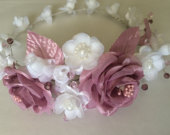 Flower girl crown, bridal dusty rose and white rose crown, silk roses Swarovski crystal beads tiara, bridal hairpiece