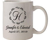 Wedding coffee mugs, monogram ceramic mugs, personalized wedding favors for guests, wedding cups with names, coffee lover wedding