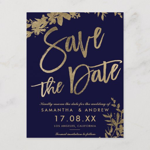 Gold typography floral navy blue save the date Announcement Postcard