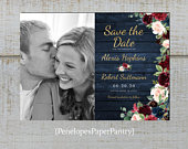 Elegant Rustic Navy Floral Photo Save The Date Card,Fall Save The Date,Photo Card,Burgundy,Navy Blue,Roses,Gold Print,Shimmery,Printed Cards
