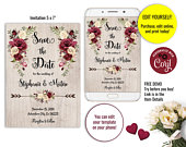 Editable Template Burgundy Save the Date Invitation Floral Wedding Invitation Printable Romantic Roses Rustic Wedding Boho Wedding EW0132a