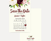 Marsala Watercolor Floral Save The Date Cards Template, Save The Date Template with Photo, Cheap Online Wedding Save The Date, Hadley Design
