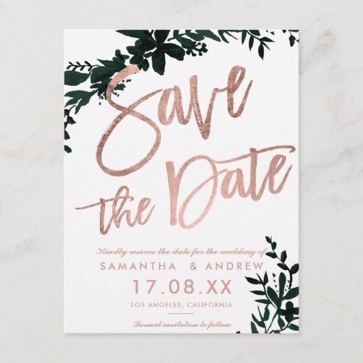 Rose gold script Floral green white save the date Announcement Postcard