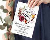 Editable Autumn Save the Date Template, Wild Autumn Floral Wreath Save the Date Cards, Save the Date Printable, PDF Instant Download LWIW8