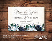 Rustic Save the Date Postcard Printed or Digital File Wood and Floral Save the Date Postcard Navy Floral Wedding Save the Date