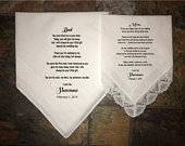 Wedding Handkerchief, Mother of the Bride Gift and Father of the Bride gift from the Bride, wedding handkerchief from daughter, printed