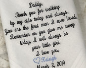 Embroidered Wedding Handkerchief Personalized Wedding Handkerchief For Father Of The Bride Wedding Gift For Dad Wedding Day Embroidered